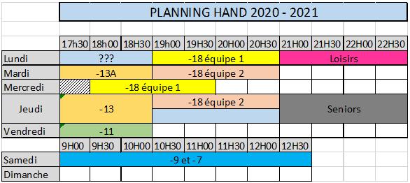les horaires 2020-2021